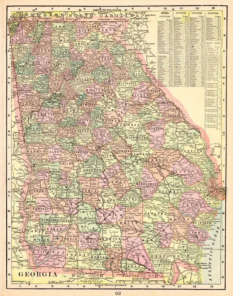 1901 Antique GEORGIA State Map Vintage Map Georgia Gallery Wall