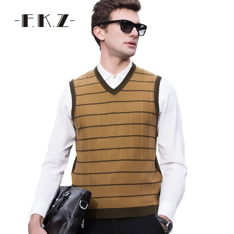 FKZ Hot Spring Autumn Mens Vest Sweaters V-Neck Knitted Sweater ...