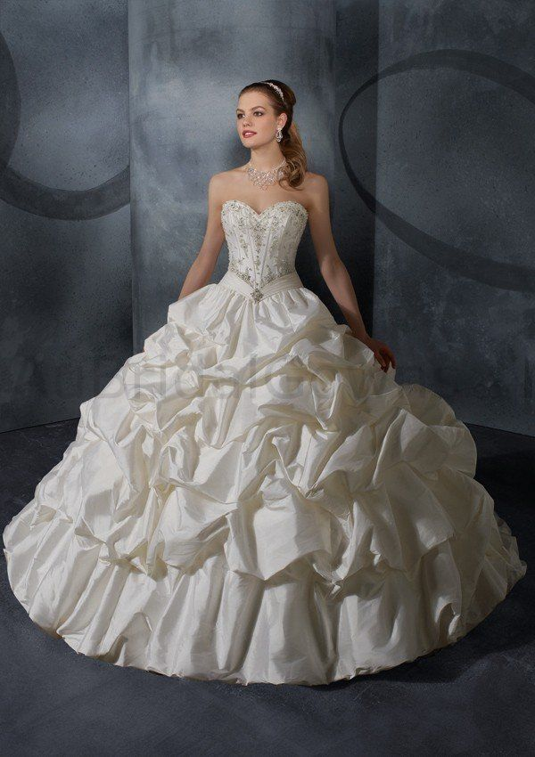 Taffeta Strapless Sweetheart Embroidered Bodice Ball Gown Wedding ...