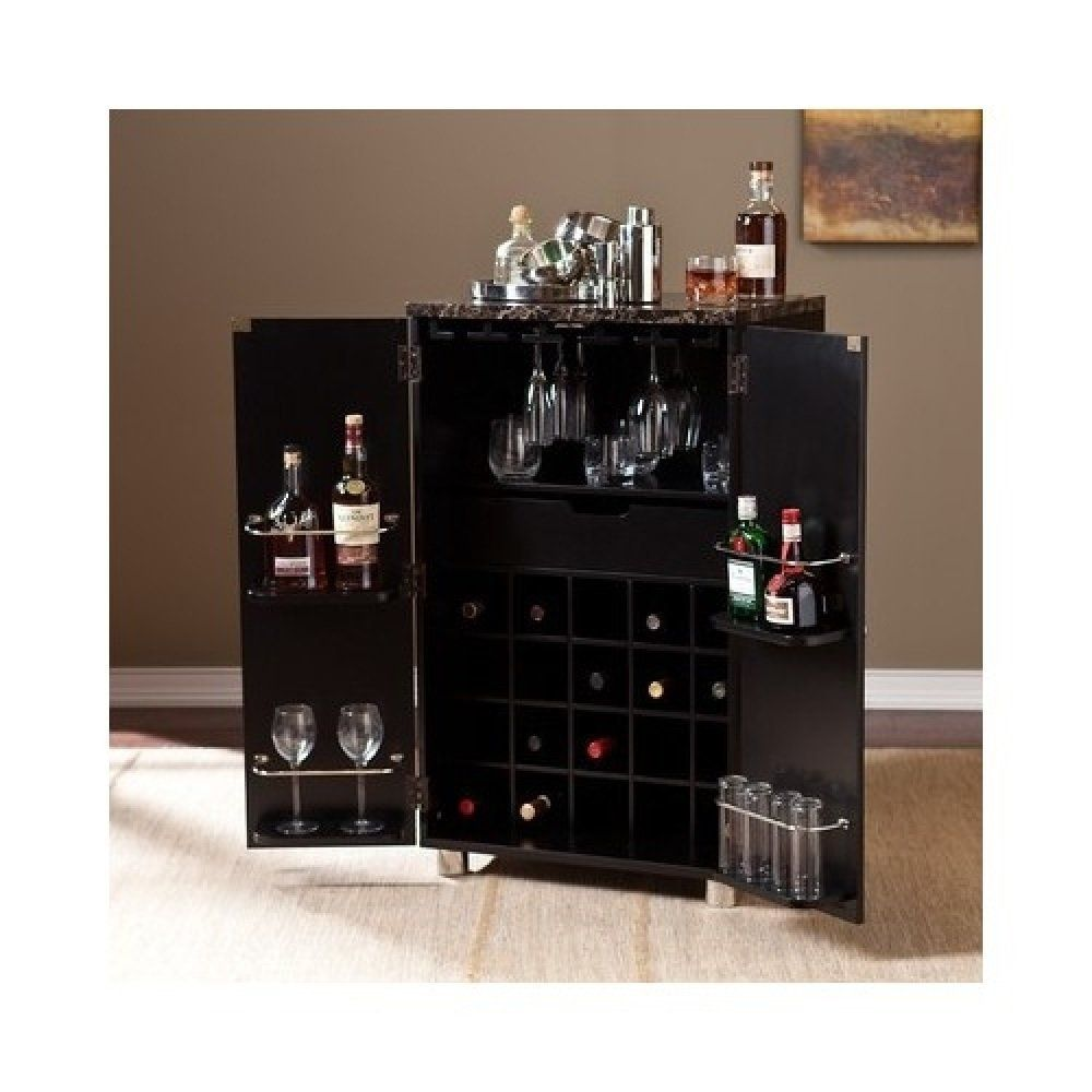 Amazon.com: Liquor Bar Cabinet with Wine Storage Marbleized ...