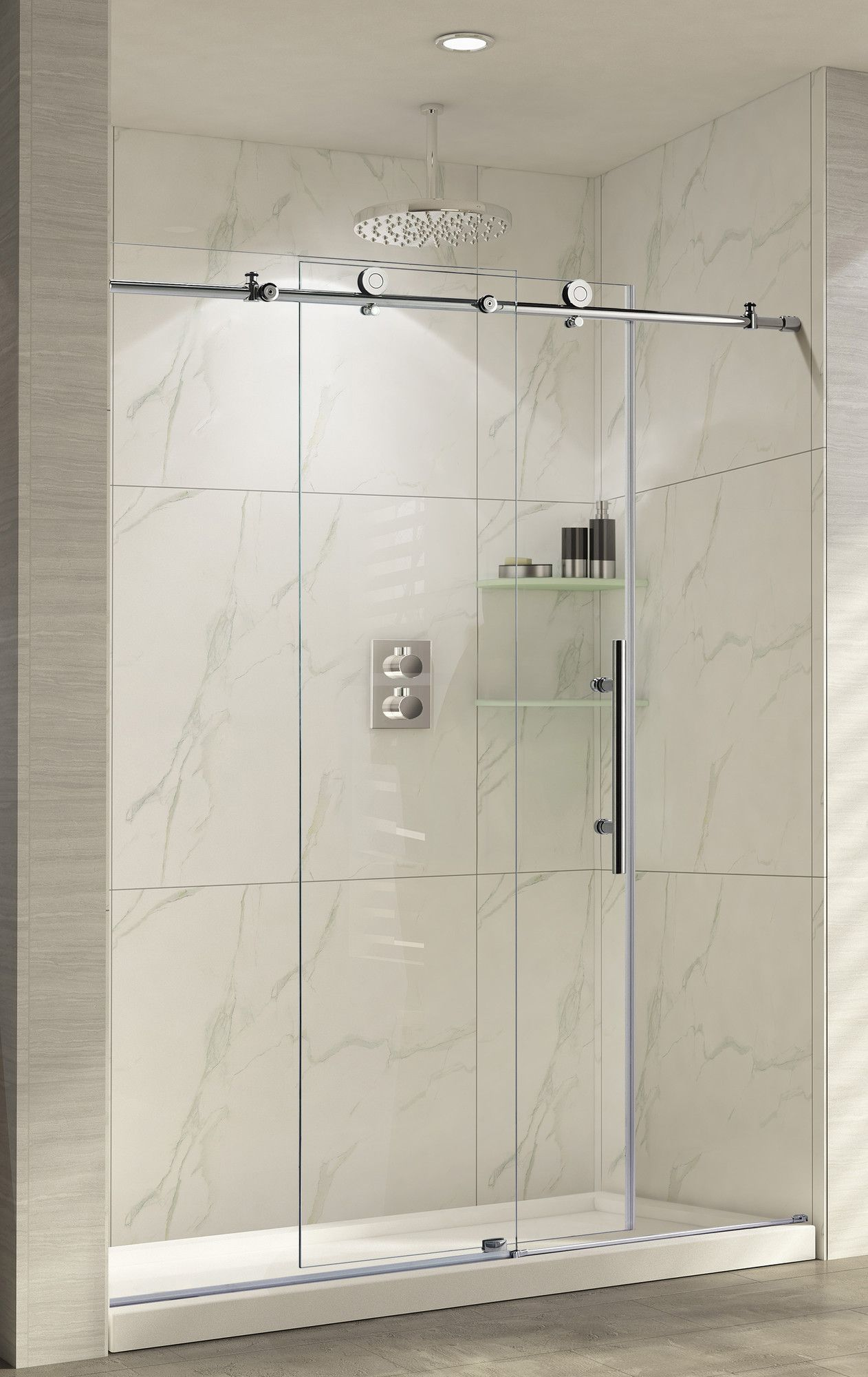 Trident 60 X 62 Single Sliding Frameless Shower Door