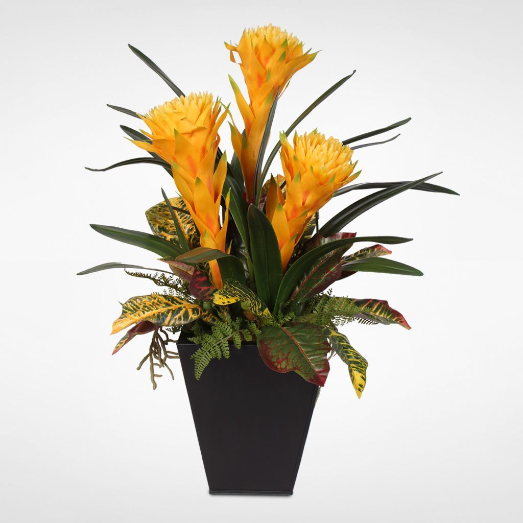 Colorful Tropical Faux Bromelia Plants In Metal Grey Container
