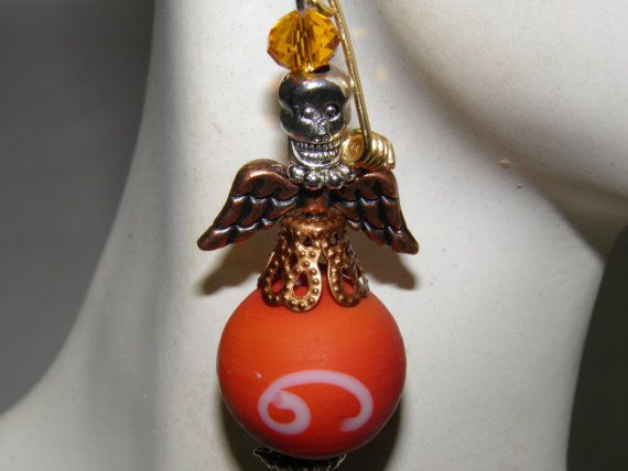 Hand Crafted Day of the Dead Earrings Angel Sugar Skulls and Handmade Lampwork Beads by MelancholyMind, on Etsy $14.99