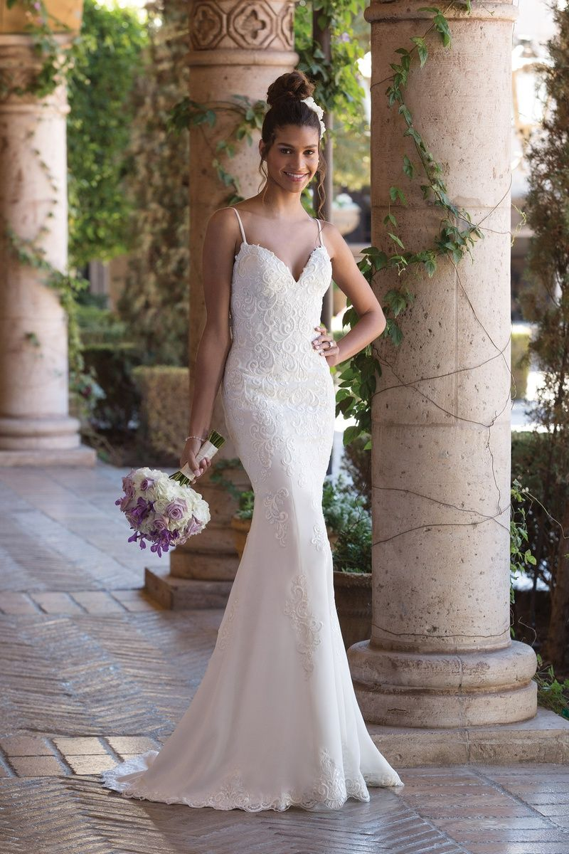 Sincerity Bridal V-Neck Fit and Flare Gown with Spaghetti Straps ...