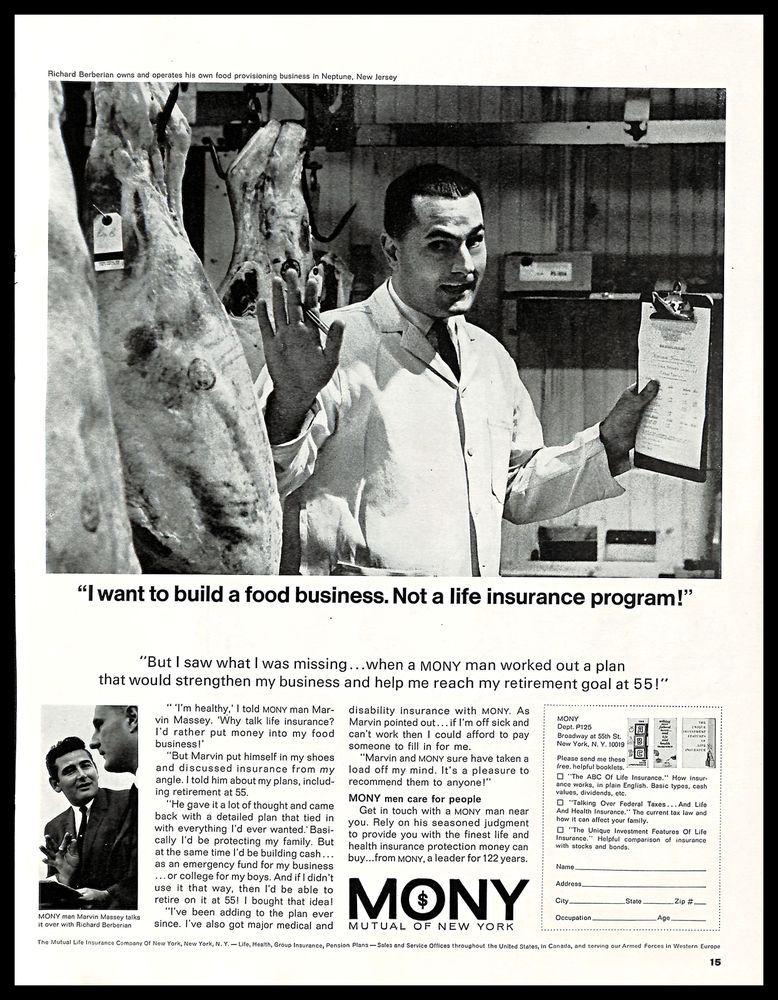 1965 Mony Mutual Life Insurance Of New York Vintage Print Ad Food