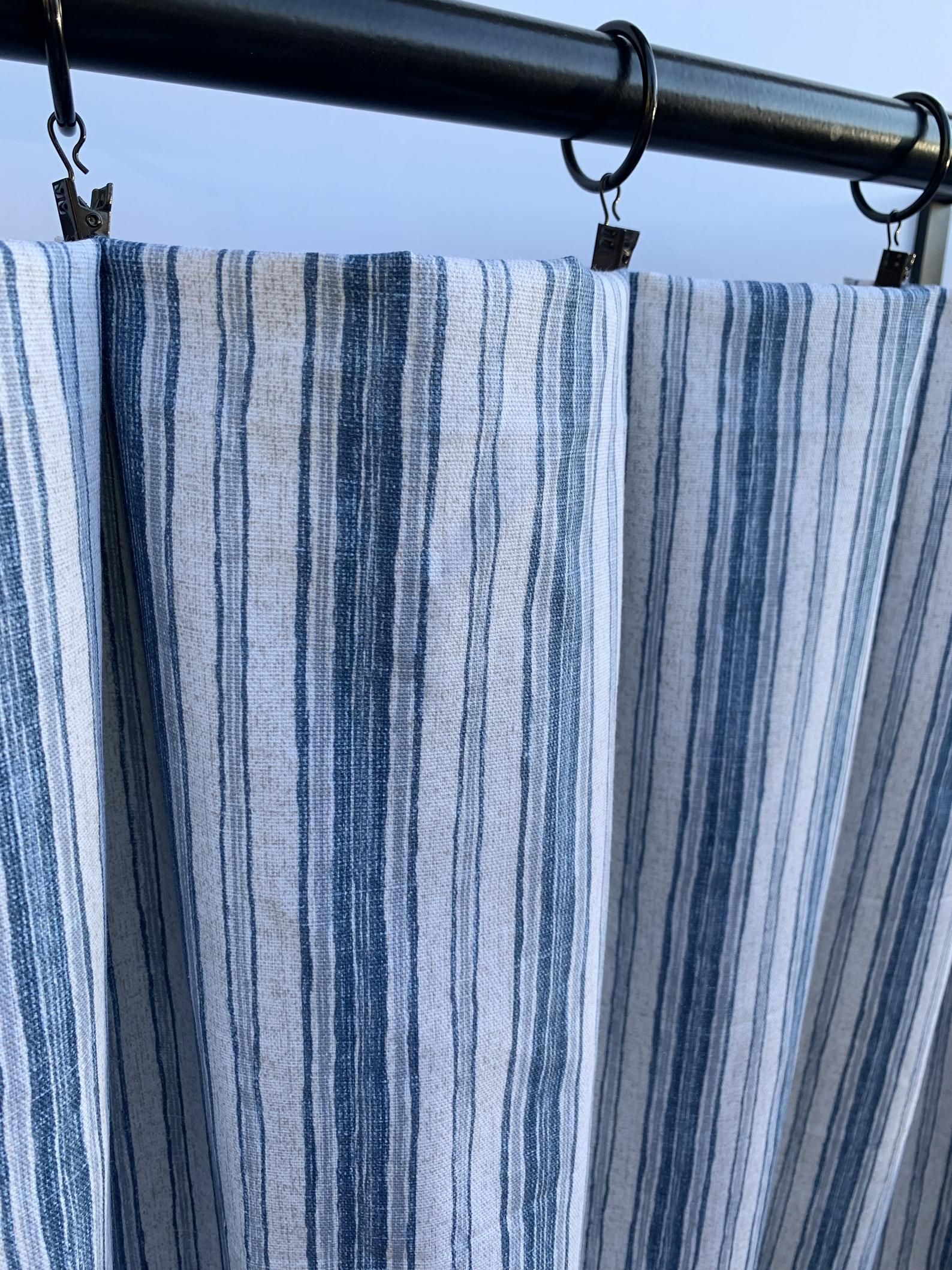 Magnolia Home Curtains Blue Striped Curtains 2 Curtain Etsy