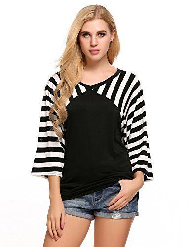 0d913aeaedb Women Plus Size Casual Striped Tunic 3 4 Sleeve O Neck Loose Top Tee Shirt