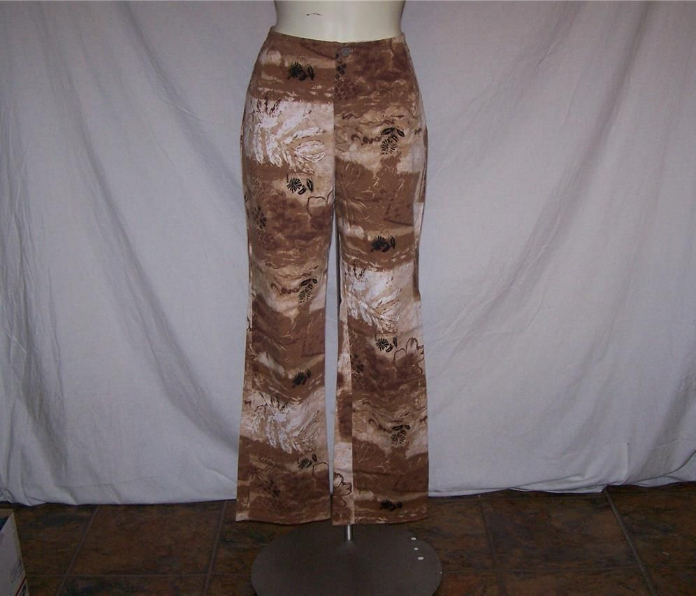 CHICOS DESIGN Sz 0 Pants Spandex Stretch Brown Artsy Floral 29x28 Womens XS 4/6 #Chicos #CasualPants