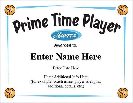 Prime time player award basketball certificate templates enable prime time player award basketball certificate templates enable you to create lasting keepsakes in seconds yadclub Choice Image