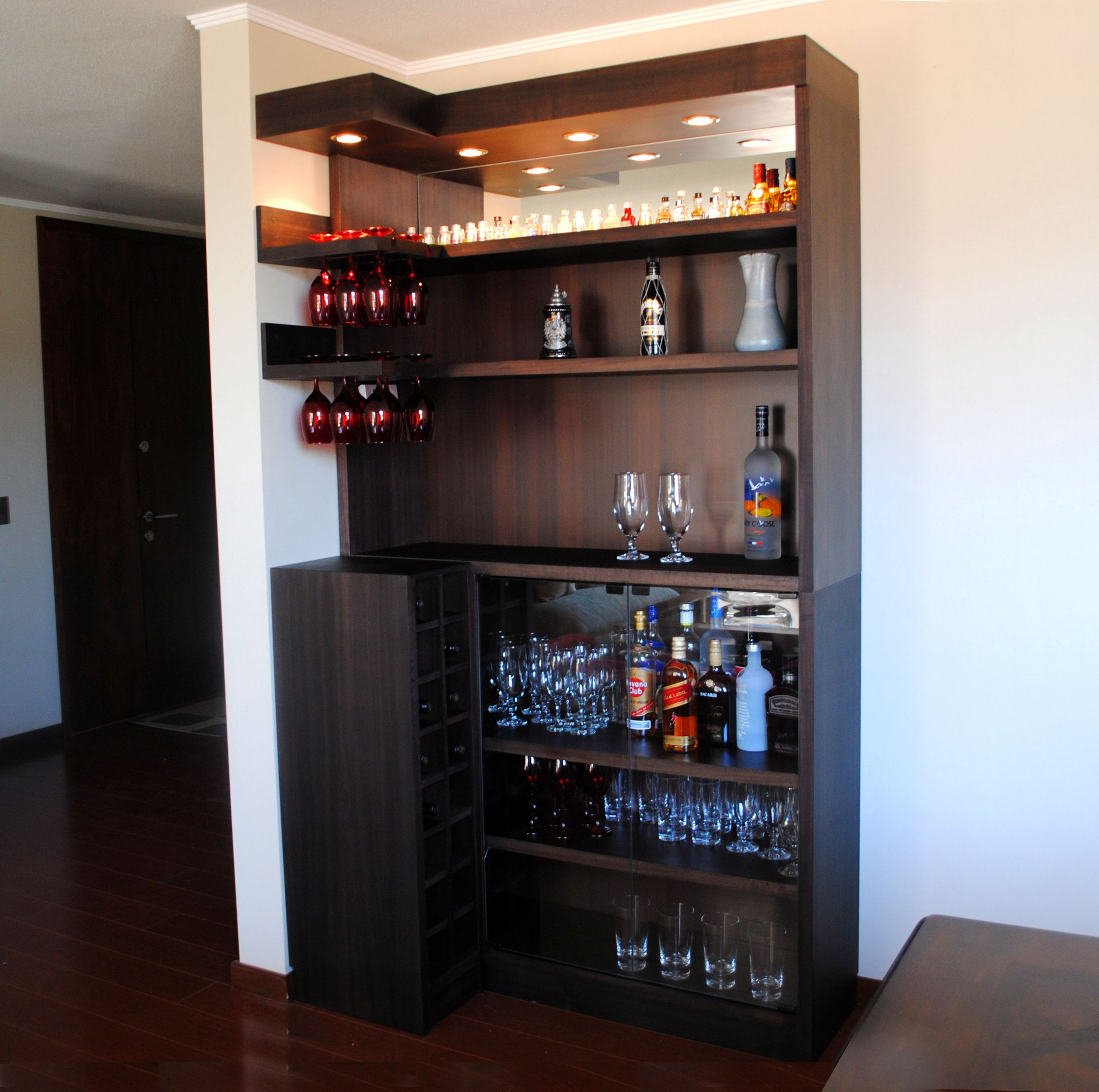 Bar En L De Coigue Con Luces Y Espejo Organizing Pinterest  # Muebles Luvak Queretaro