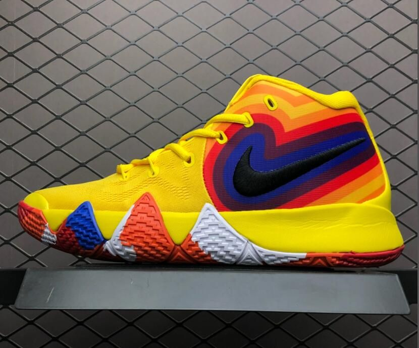 "753e090d7f6c This Nike Kyrie 4 ""Yellow Multicolor"" features a bright retro color  combination nearly identical to the Uncle Drew promotional poster and also  bearing ..."