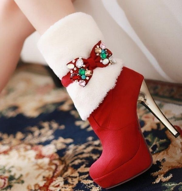 Perfect Black And Red Christmas Boots For Women In 2019