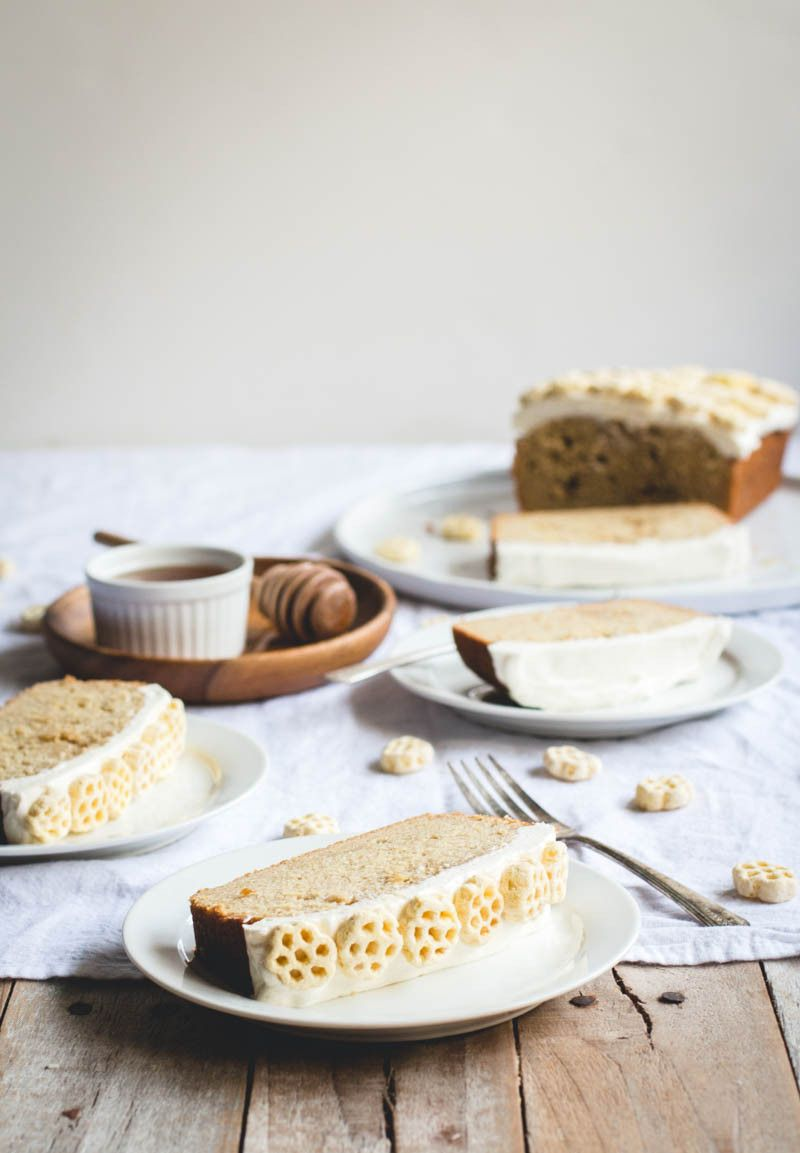 honeycomb cereal pound cake with salted honey buttercream.
