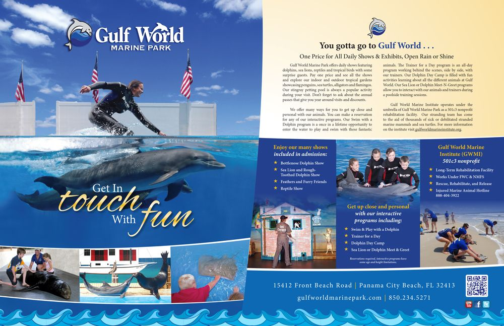 Magazine Ad Design For Gulf World In Panama City Beach Ad Design Panama City Panama My Design