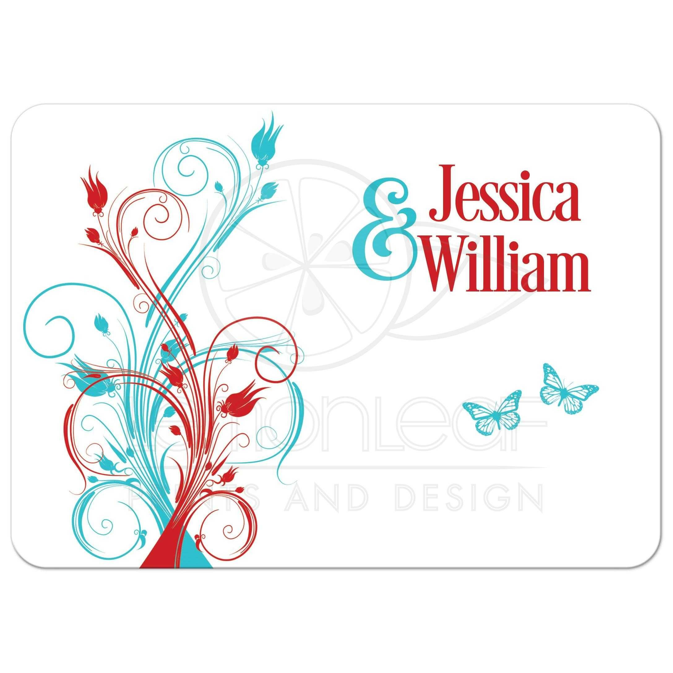 Wedding Invitation | Turquoise, Red, White Floral, Butterflies ...