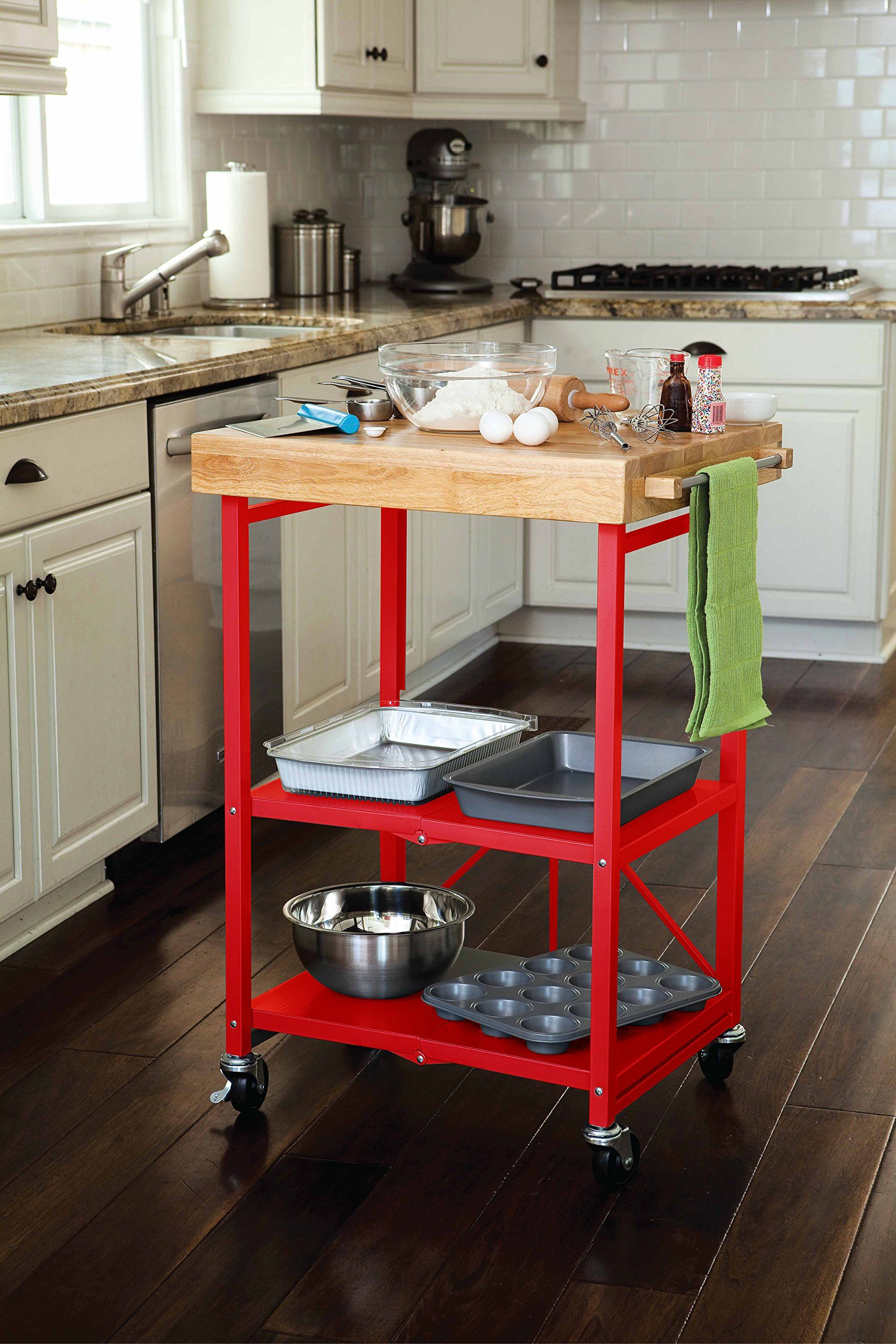 135 Origami Folding Island Kitchen Cart Red Furniture Decor