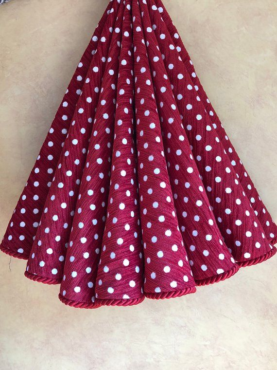 READY TO SHIP - Ruby Red and white polka dotted Christmas tree skirt | Christmas tree skirt ...