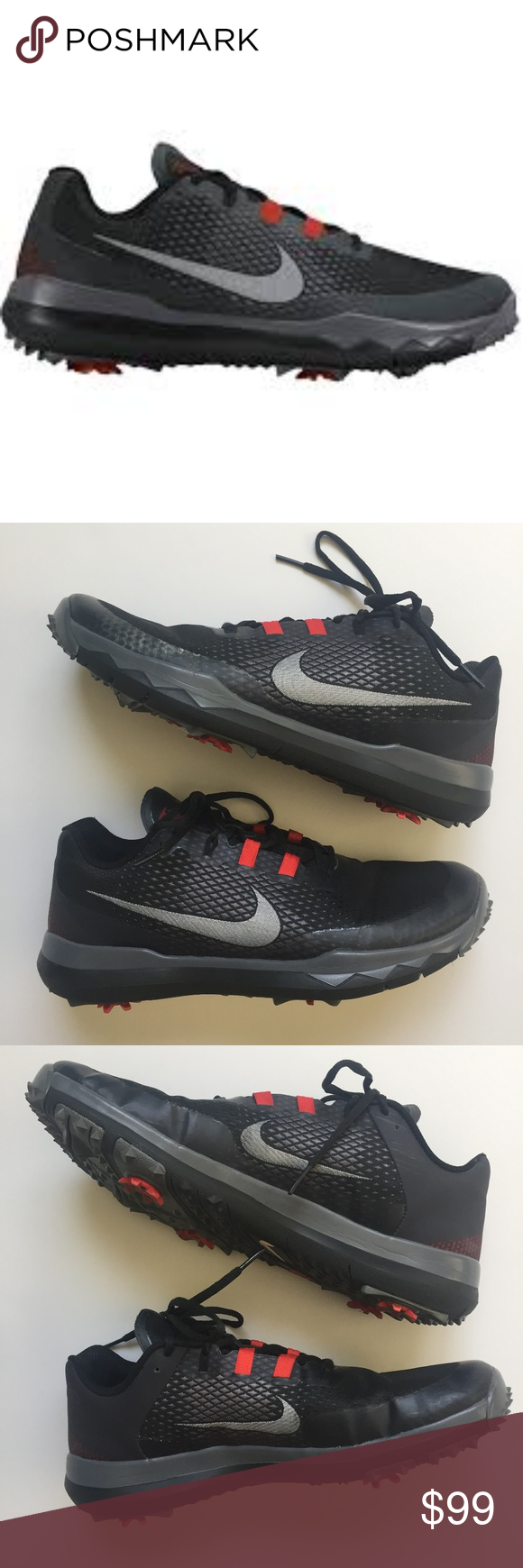the latest 73a19 85f5e NIKE 2015 TW Tiger Woods Golf Shoes Cleats Black Light wear, creasing near  ball of