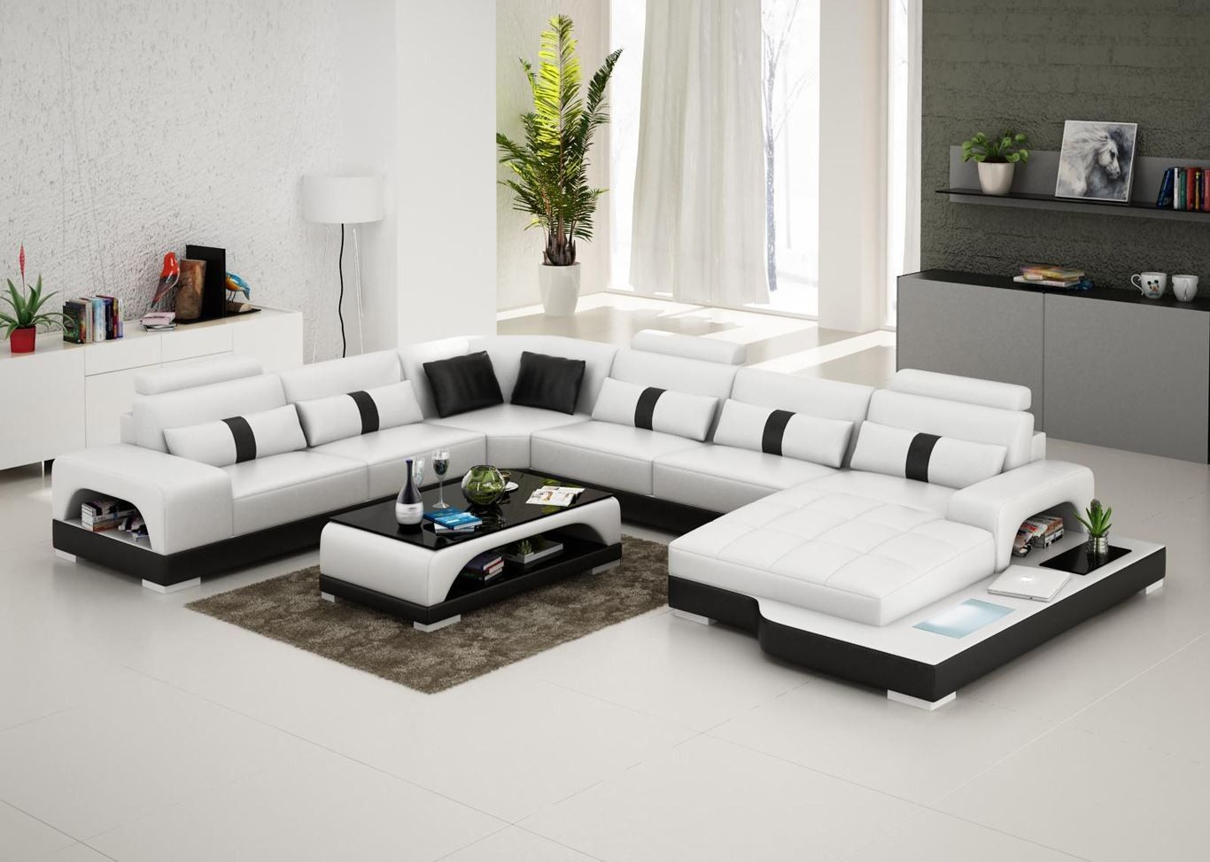 Connie Sectional Sofa - Leather Living Room Furniture - Fancy ...