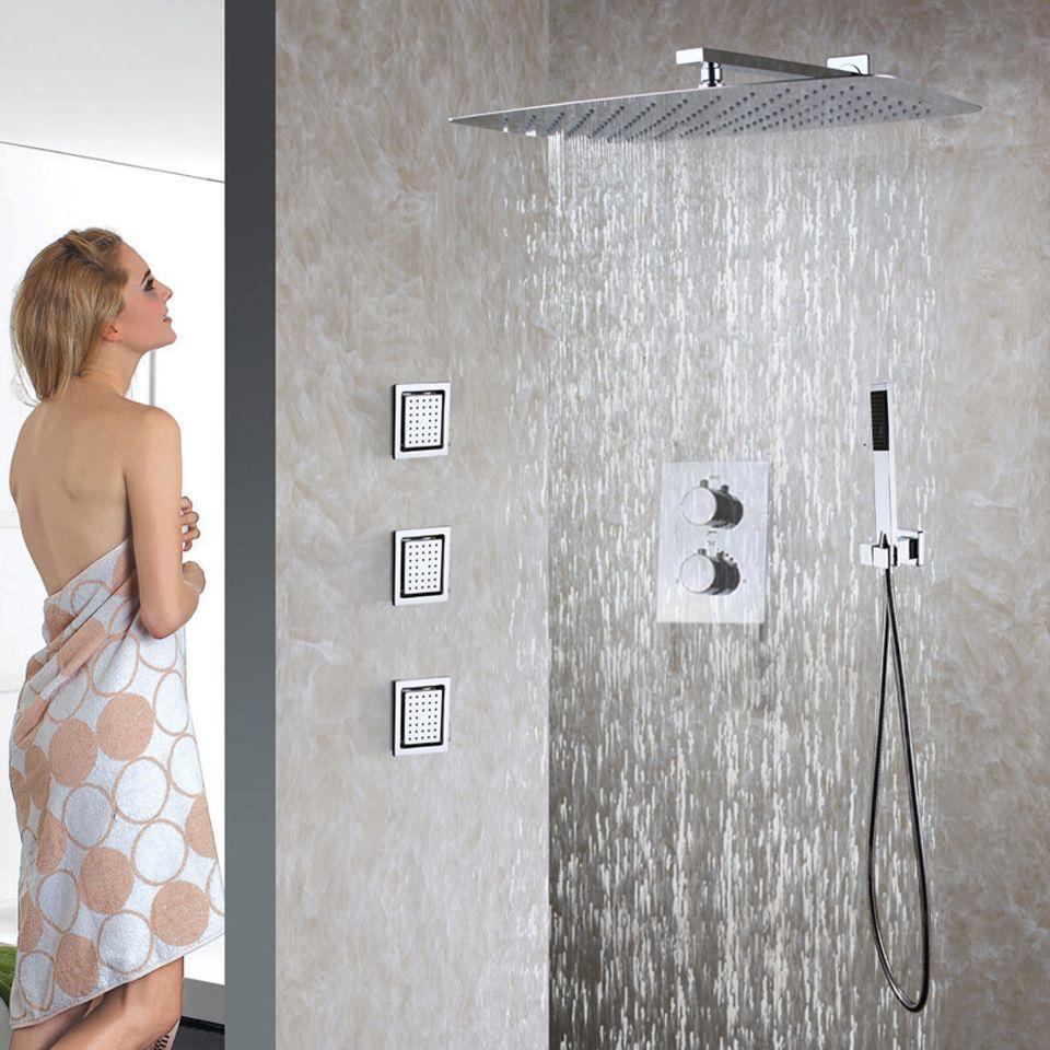 Bathroom Thermostatic Shower Faucet Set 55X35 CM Ultra-thin Rain ...