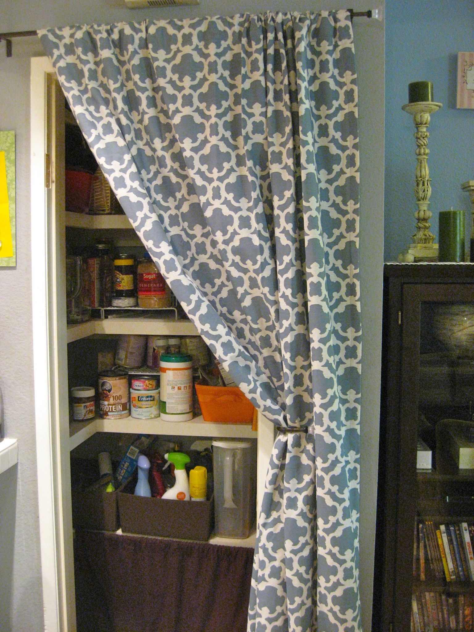 Kitchen Door Curtains Use A Curtain Instead Of A Door Kitchen Storage Pantry Ideas