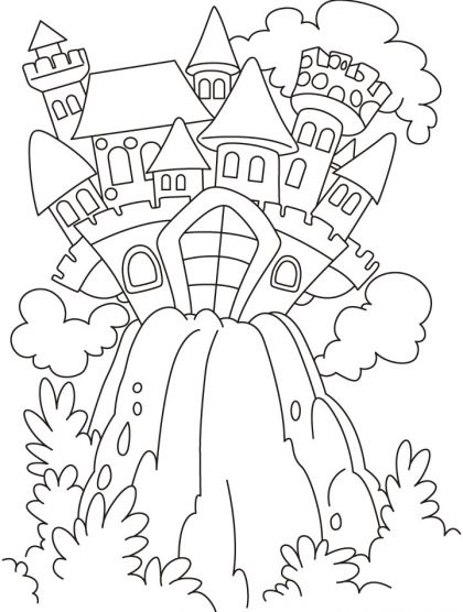 Fairy Tale Castle On The Hill Coloring Pages Download Free Fairy