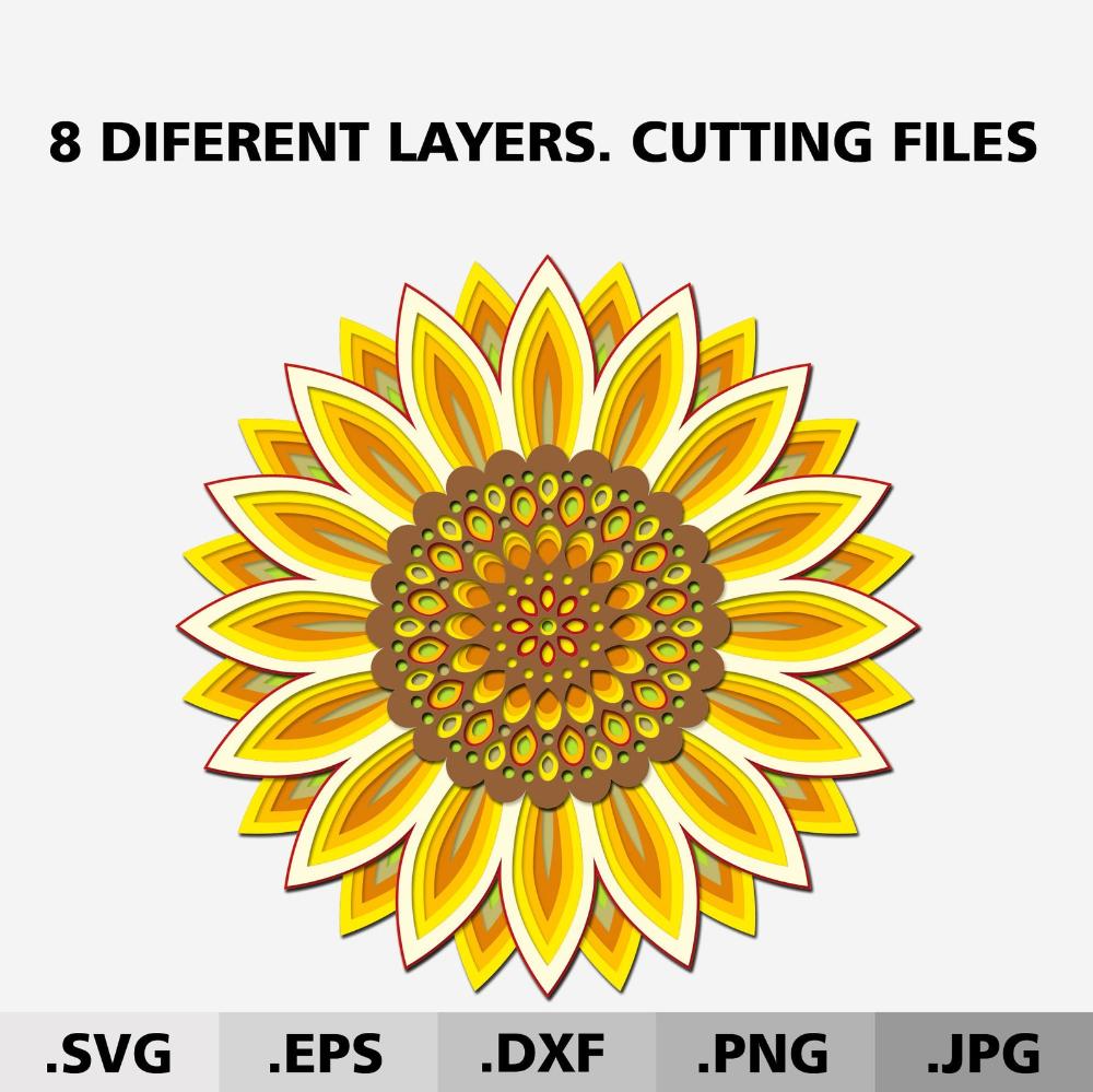 3d Mandala Sunflower SVG files for Cricut. Flower SVG