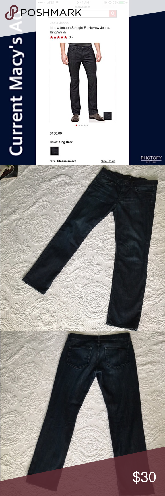 """Joe's Jeans Brixton Straight Narrow 32""""X30"""" Latest style - darker wash - Joe's Jeans Brixton cut. No fraying at leg hems. See photos ⬆️ Approx. Inseam 30"""" (+ 1/2"""") 🚭Nonsmoking Home. ✅Pet friendly, we have a Morkie. 🚫Sorry No Trading. Joe's Jeans Jeans Straight"""