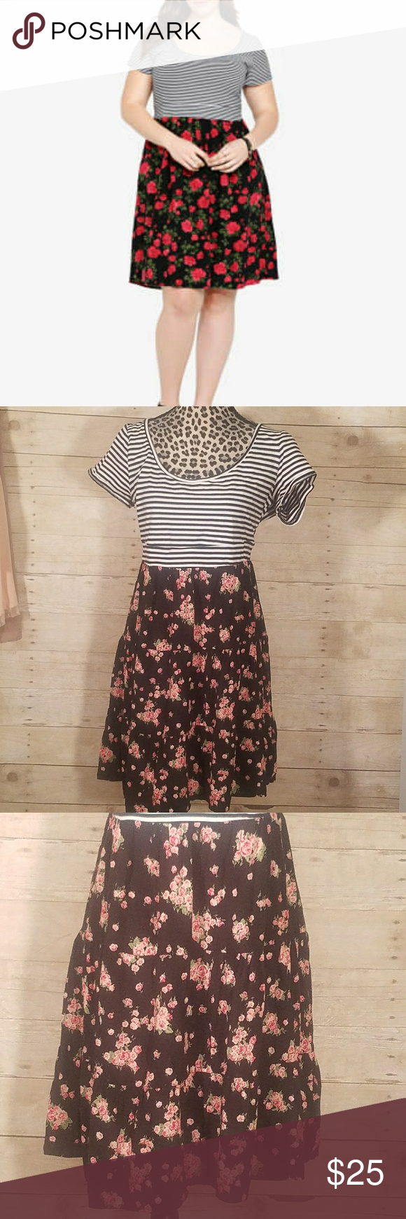 Torrid sz 1 Striped Floral Roses Dress Top is black and white striped knit. Bottom is swingy with roses and pockets. Excellent condition! Torrid size 1 is equivalent to a 14/16 or a 1X. torrid Dresses Mini