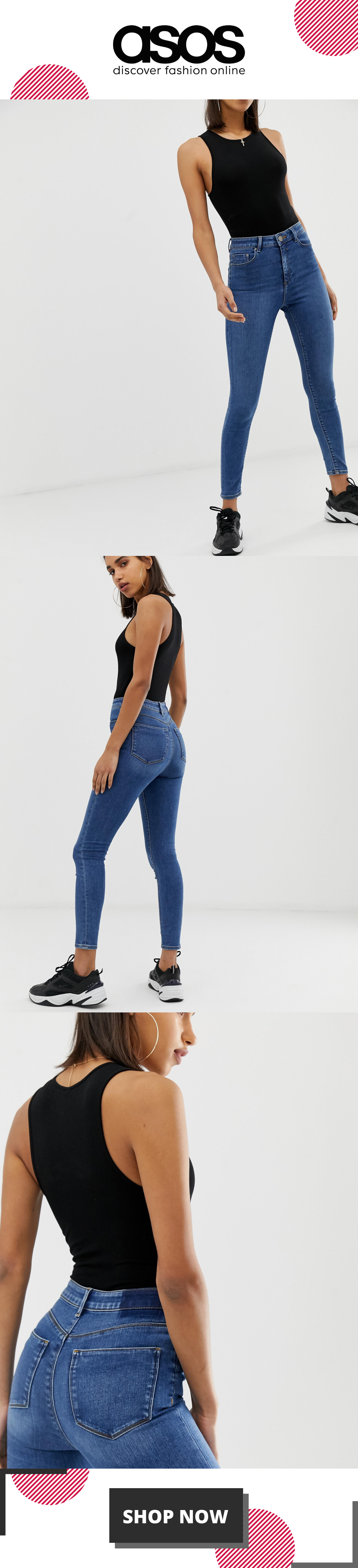 ASOS DESIGN Ridley high waisted skinny jeans in mid wash blue