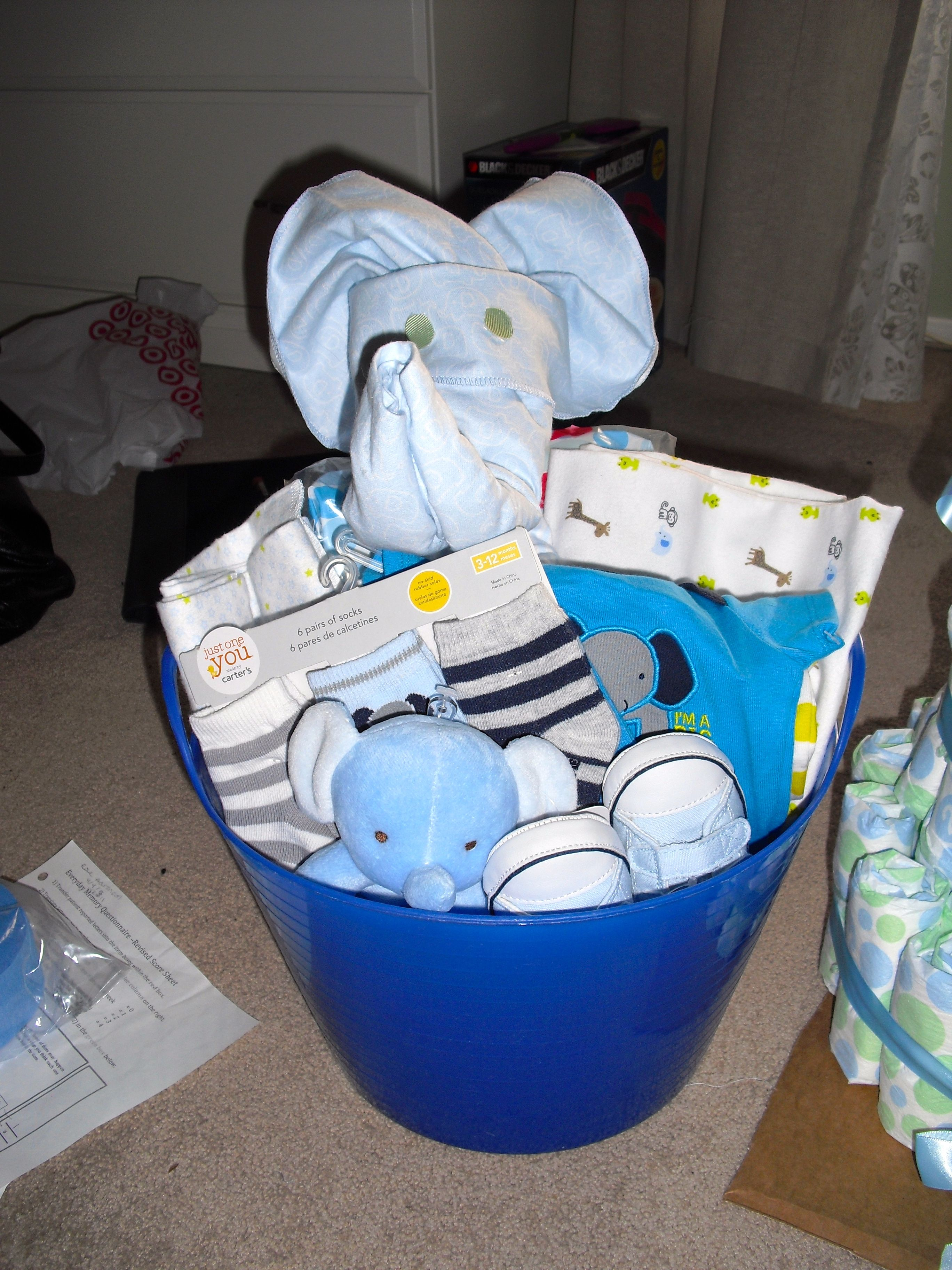 Elephant themed baby gift all items found at target elephant elephant themed baby gift all items found at target elephant made from receiving blankets negle Choice Image