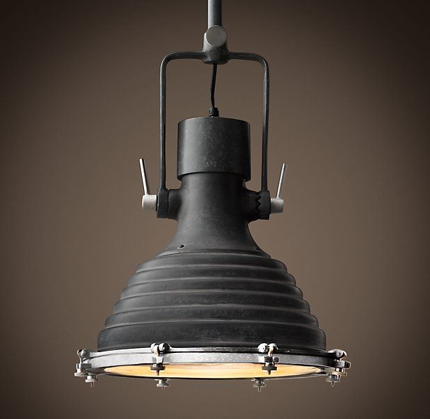 old industrial lighting. Weathered Zinc:Inspired By An Antique Naval Lamp Found At Old Shipyard In The South Of France, Our Maritime Pendant Is A Sleek Industrial Update. Lighting R