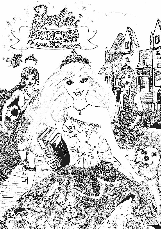 coloring pages princess charm school : Barbie Princess Charm School Coloring Pages 7