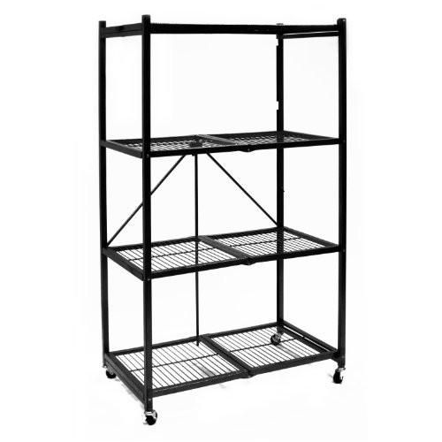 Origami R5 01w General Purpose 4 Shelf Steel Collapsible Storage Rack With Wheels Large Steel Storage Rack Garage Storage Racks Storage Rack