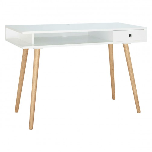 Cato Large Matt White Desk With Solid Wood Legs In 2020 White