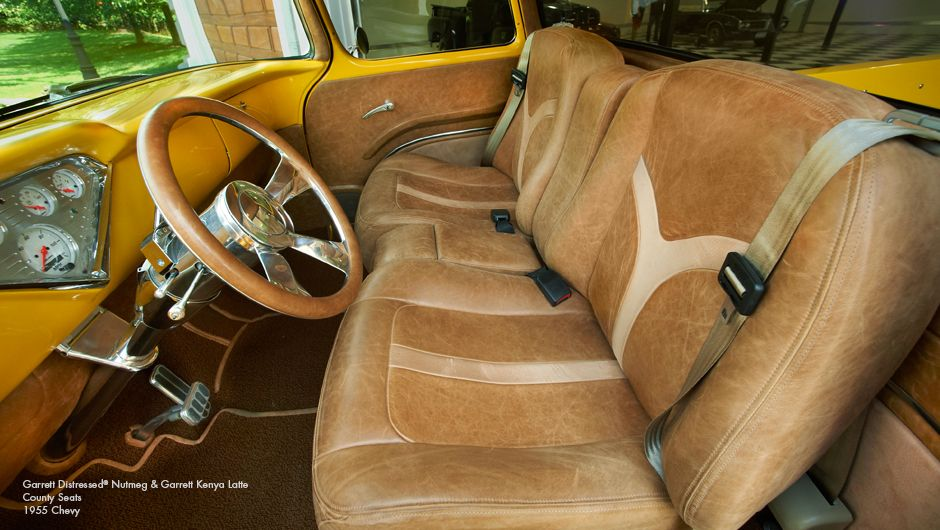 car auto distressed brown leather with yellow and tan accents interior seats door panels auto. Black Bedroom Furniture Sets. Home Design Ideas