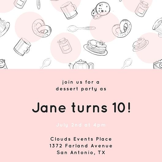 Sweet Pastries And Desserts Party Invitation Templates By Canva - Dessert party invitation template