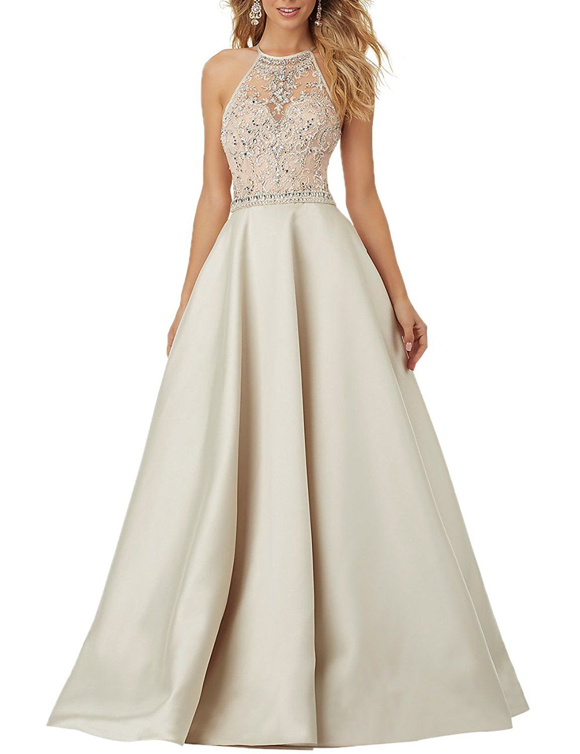 Firose Women s Trumpet Halter Ball Gowns Sparkling A Line Prom Dresses      More info could be found at the image url. (This is an affiliate link)   ... 6a66b829f5