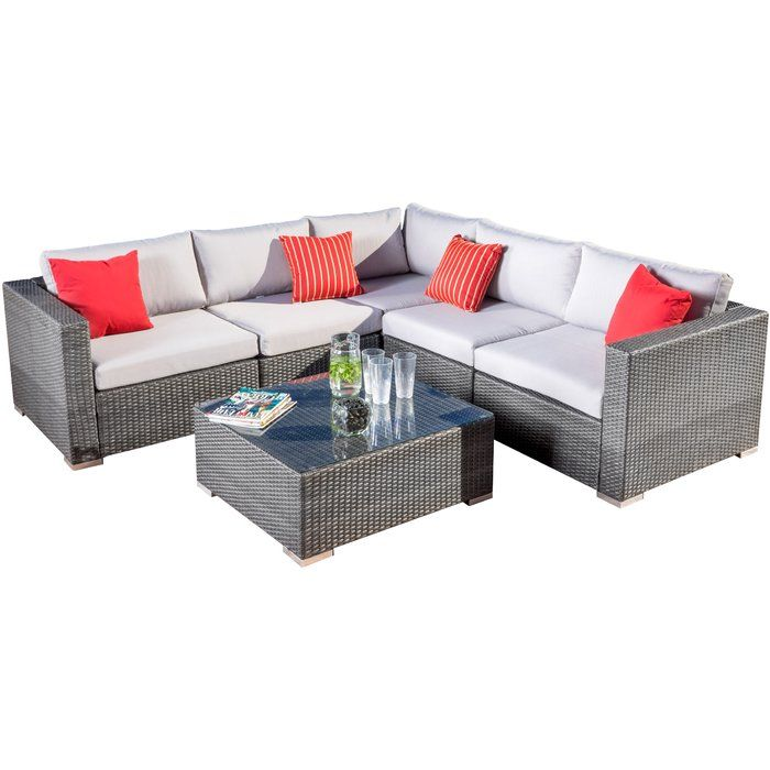 Cabral 6 Piece Rattan Sectional Seating Group With Cushions With Images Outdoor Sofa Sets Rattan Furniture Set Outdoor Sectional Sofa