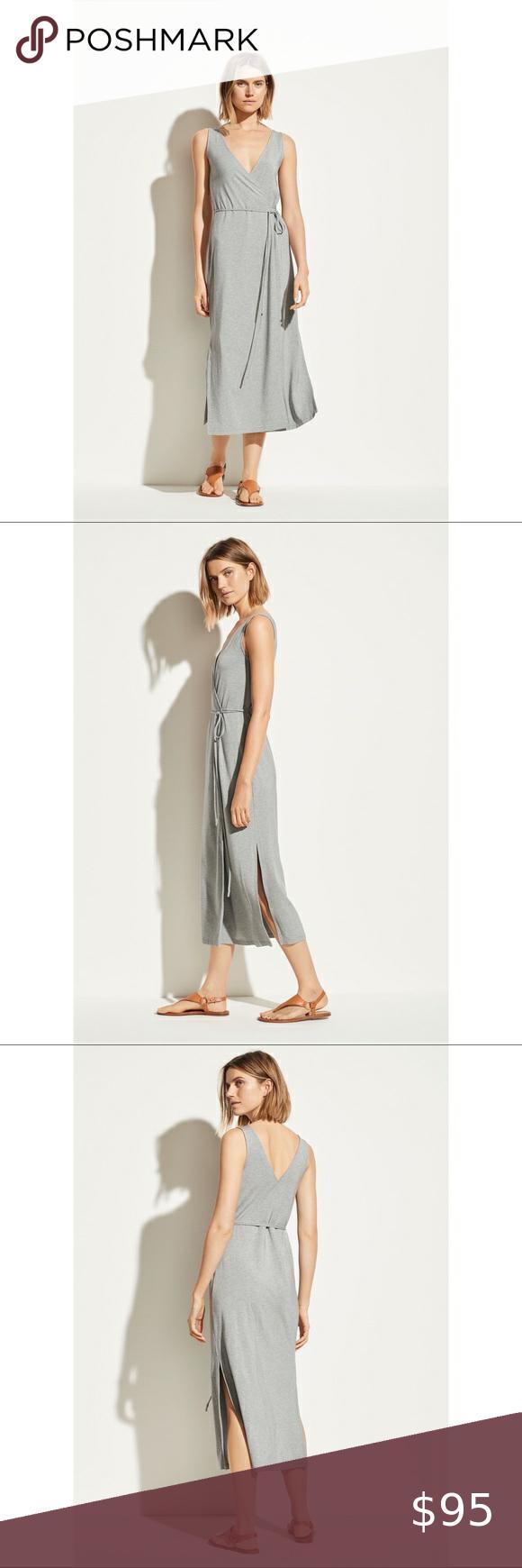 New Vince V Neck Wrap Dress Jersey Knit Dress Swirl Dress Sleeveless Wrap Dress [ 1740 x 580 Pixel ]