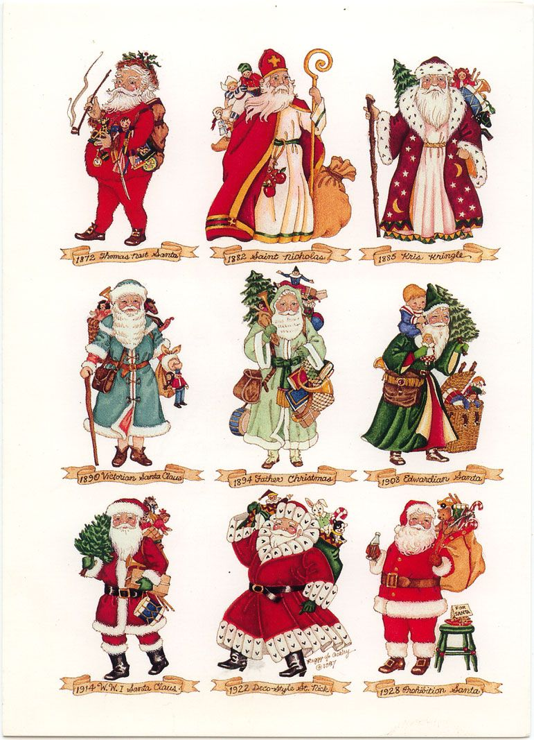 Santa Through The Ages With Images Christmas Art Santa