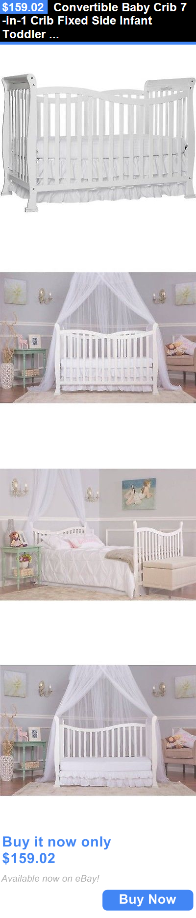 Baby Nursery: Convertible Baby Crib 7-In-1 Crib Fixed Side Infant Toddler Matrass Nursery Bed BUY IT NOW ONLY: $159.02