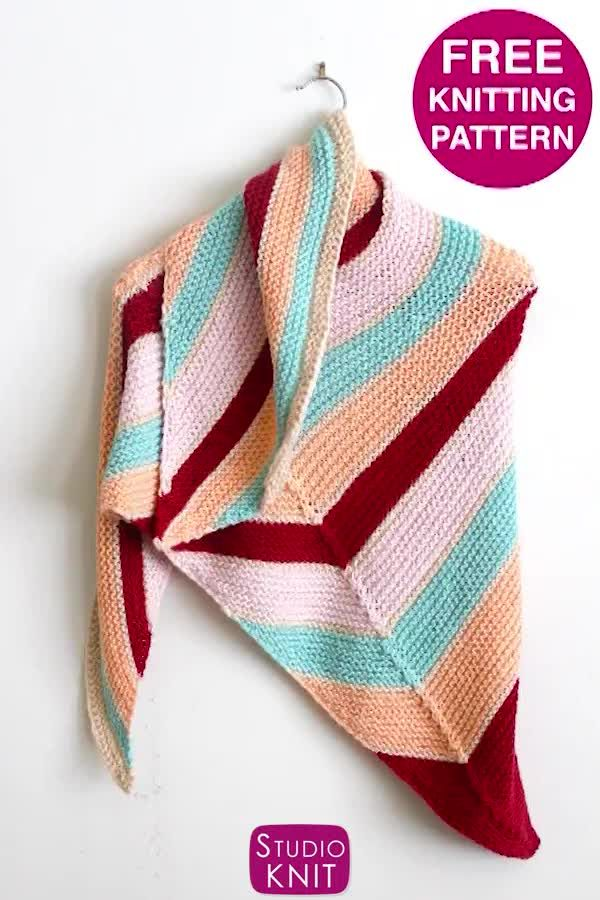Photo of Get free pattern of the Caron x Pantone Asymmetrical Knit Shawl