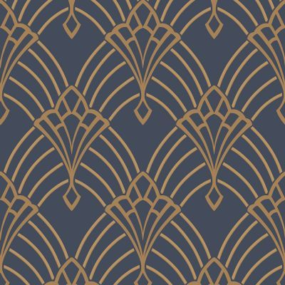 Metro Diamond Geometric Wallpaper Navy Blue and Gold
