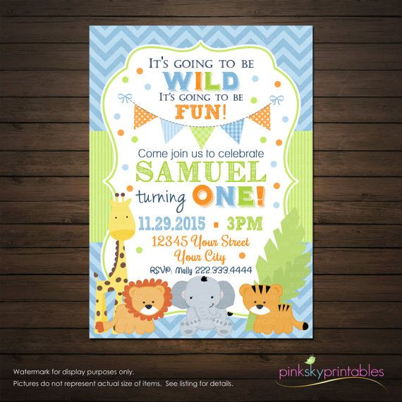 Jungle Animals First Birthday Invitation Safari Birthday Invitation