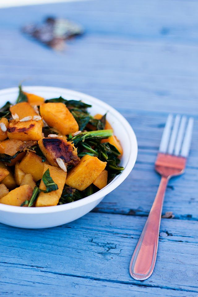BROWN SUGAR BUTTERNUT SQUASH & COLLARDS w SUNFLOWER SEEDS (VEGAN, GLUTEN FREE)