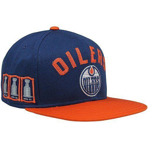 NHL CCM Edmonton Oilers Trophy Snapback Adjustable Hat - Navy Blue Orange  by Reebok. ed6e6865f8554