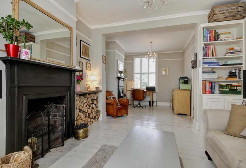 White Floorboards Open Plan Sitting Room Dining Room Victorian