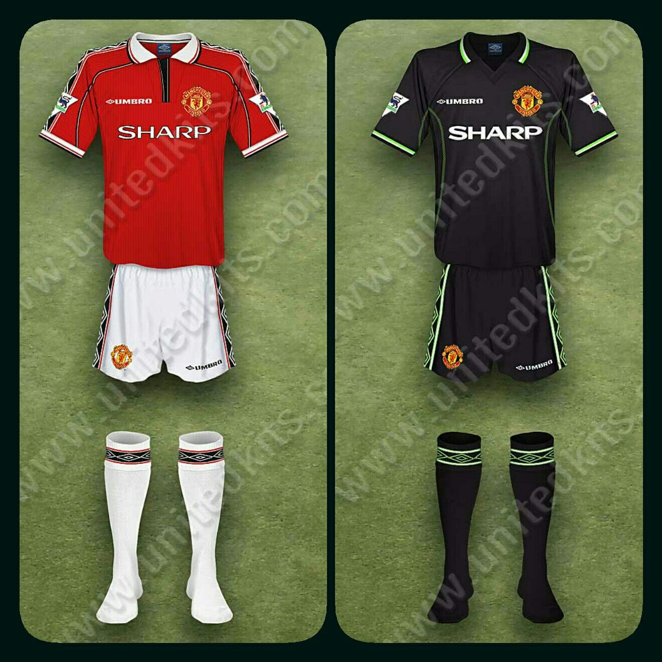 brand new 57190 b2845 Man Utd home, with white socks, for 1998-2000 and the 3rd ...