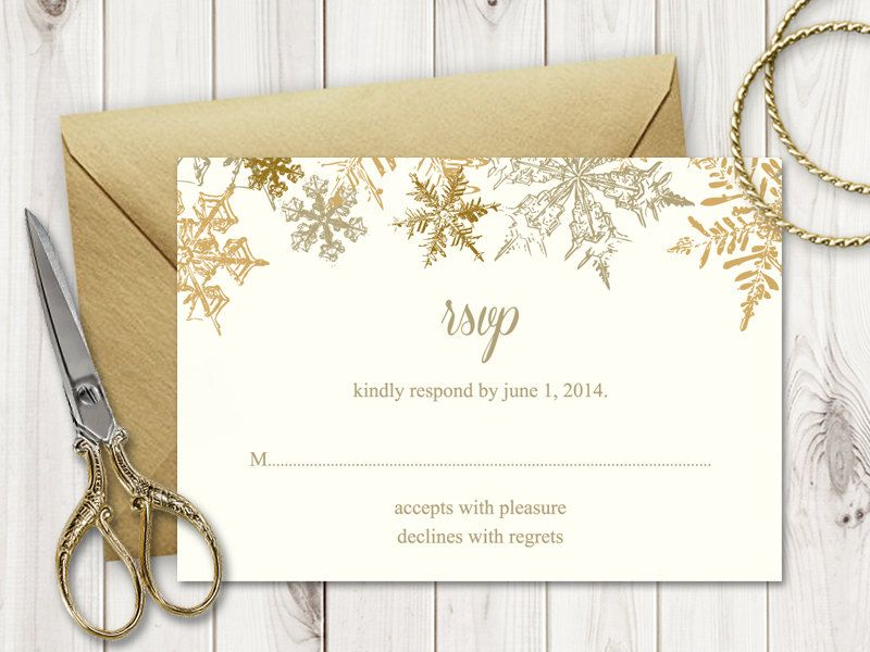 Winter Wedding Rsvp Template Snowflakes Gold Diy Etsy Wedding Rsvp Rsvp Wedding Cards Response Cards